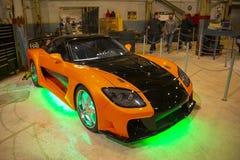 Fast & Furious garage in Universal Orlando, FL, USA. Racing Car in garage in Fast & Furious: Supercharged at Universal Studios Park in Orlando, Florida, USA stock photography
