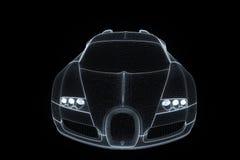 Racing Car Hologram Wireframe. Nice 3D Rendering Stock Images