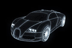 Racing Car Hologram Wireframe. Nice 3D Rendering Stock Photography