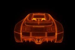 Racing Car Hologram Wireframe. Nice 3D Rendering Royalty Free Stock Photos