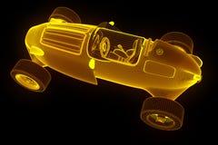 Racing Car Hologram Wireframe. Nice 3D Rendering Stock Photo