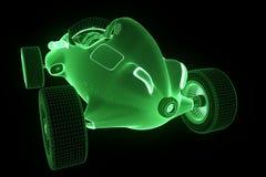 Racing Car Hologram Wireframe. Nice 3D Rendering Royalty Free Stock Image