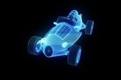 Racing Car Hologram Wireframe. Nice 3D Rendering Royalty Free Stock Photo