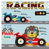 Racing car. Lion on racing car ready to competition, vector cartoon. EPS 10 Royalty Free Stock Image
