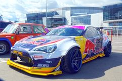 Racing car Moscow Nikita Shikova famous drifter and his Rocket Bull 86 Tuning Show 2015 Russian Drift Series Royalty Free Stock Images
