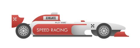 Racing car side view. Realistic sport car with sample editable advertisements isolated on white. EPS10 vector illustration Royalty Free Stock Images