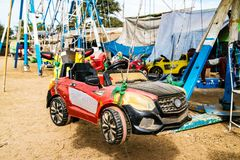Racing car. The temporary amusement park in Myanmar Stock Image
