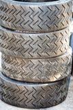 Racing car tire close up Stock Photos