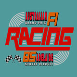 Racing Car Typography, T-shirt Graphics Design, Vector Illustrat Stock Photos