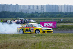Racing car of V.Gukasyan on track in 3-d tour Stock Photo