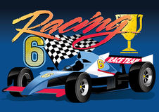 Racing car. Vector illustration of a race car with trophy Royalty Free Stock Photos