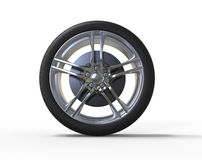 Racing car wheel - big shiny rims - front view Stock Photo