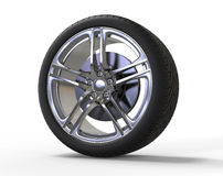 Racing car wheel - big shiny rims Royalty Free Stock Image