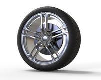 Racing car wheel - big shiny rims Royalty Free Stock Image