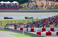 Racing cars on a  circuit during The Formula Royalty Free Stock Photography
