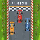 Racing cars on finish line. Top view racing illustrations. Vector finish race track, result of tournament formula one Stock Photos