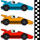 Racing Cars & Finishing Line. Racing cars in three different colors. Finishing line included. Isolated on white. EPS8. No gradients Stock Image