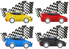 Racing cars in four colors. Illustration stock illustration