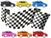 Racing cars and racing flag Stock Photos