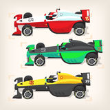Racing cars. Set of colorful fast motor racing cars on a start line Royalty Free Stock Image