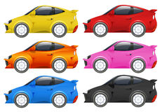 Racing cars in six different colors. Illustration royalty free illustration