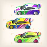 Racing cars at start. Set of colorful fast motor racing cars on a start line Royalty Free Stock Images