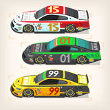 Racing cars at start. Set of colorful fast motor racing cars on a start line Stock Photography