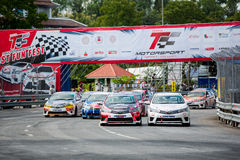 Racing cars in Toyota Motorsport. CHIANG MAI, THAILAND - SEPTEMBER 19: Racing cars in Toyota Motorsport on September 19,2015 in 700th Anniversary Stadium ,Chiang royalty free stock images