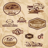 Racing cars vintage labels. Set of retro emblems Royalty Free Stock Photography
