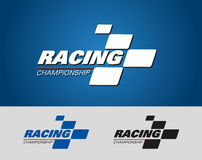 Racing Championship logo event. With shape checker flag element Stock Image