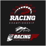 Racing Championship logo. Set on black background Stock Photography