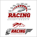 Racing Championship logo. Set on white background Stock Photo