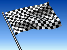 Racing checkered flag. On blue background - 3d render Royalty Free Stock Photos