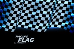 Free Racing Checkered Flag Background In Blue Neon Lights Stock Photo - 154322310