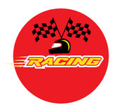 Racing With Checkered Flag and Helmet Royalty Free Stock Photo