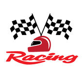 Racing With Checkered Flag and Helmet Stock Images