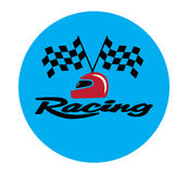 Racing With Checkered Flag and Helmet Stock Photo