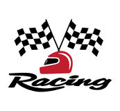 Racing With Checkered Flag and Helmet Royalty Free Stock Image
