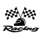 Racing With Checkered Flag and Helmet Royalty Free Stock Photos