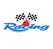 Racing With Checkered Flag and Helmet. EPS 8 supported Royalty Free Stock Image