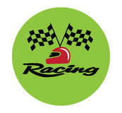 Racing With Checkered Flag and Helmet. EPS 8 supported Stock Images