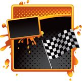 Racing checkered flag on orange banner. Racing checkered flag on orange halftone banner Royalty Free Stock Image
