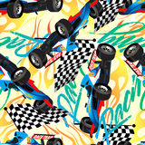 Racing with checkered flag seamless pattern Stock Photo