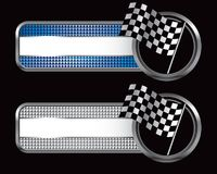 Racing checkered flag on specialized banners. Racing checkered flag waving on specialized banners Stock Image