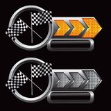 Racing checkered flags on arrow nameplates Stock Photo