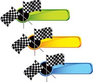 Racing checkered flags on colored tabs Stock Photo