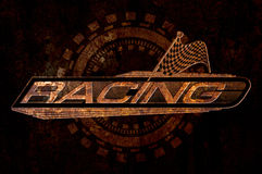 Racing with Checkered Flags Concept on metal rust background Stock Photo