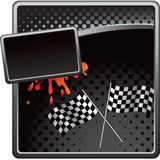 Racing checkered flags on halftone ad Royalty Free Stock Images