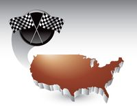 Racing checkered flags over united states icon. Bronze united states icon with crossed racing flags Royalty Free Stock Photography