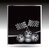 Racing checkered flags and tires on web buttons Royalty Free Stock Image